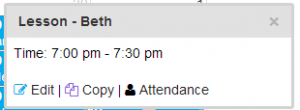 A screen shot showing the link to update student attendance directly on the calendar.