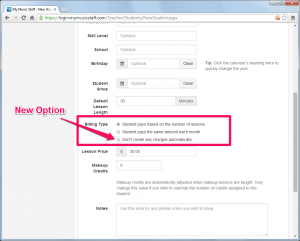 This new option prevents My Music Staff from automatically creating student lesson fees.