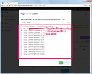 Now students can join all recurring lessons at once.