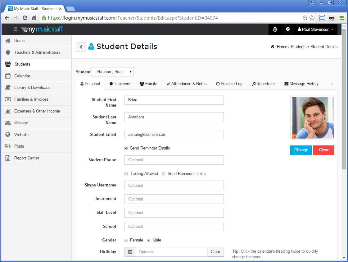 example of student profile