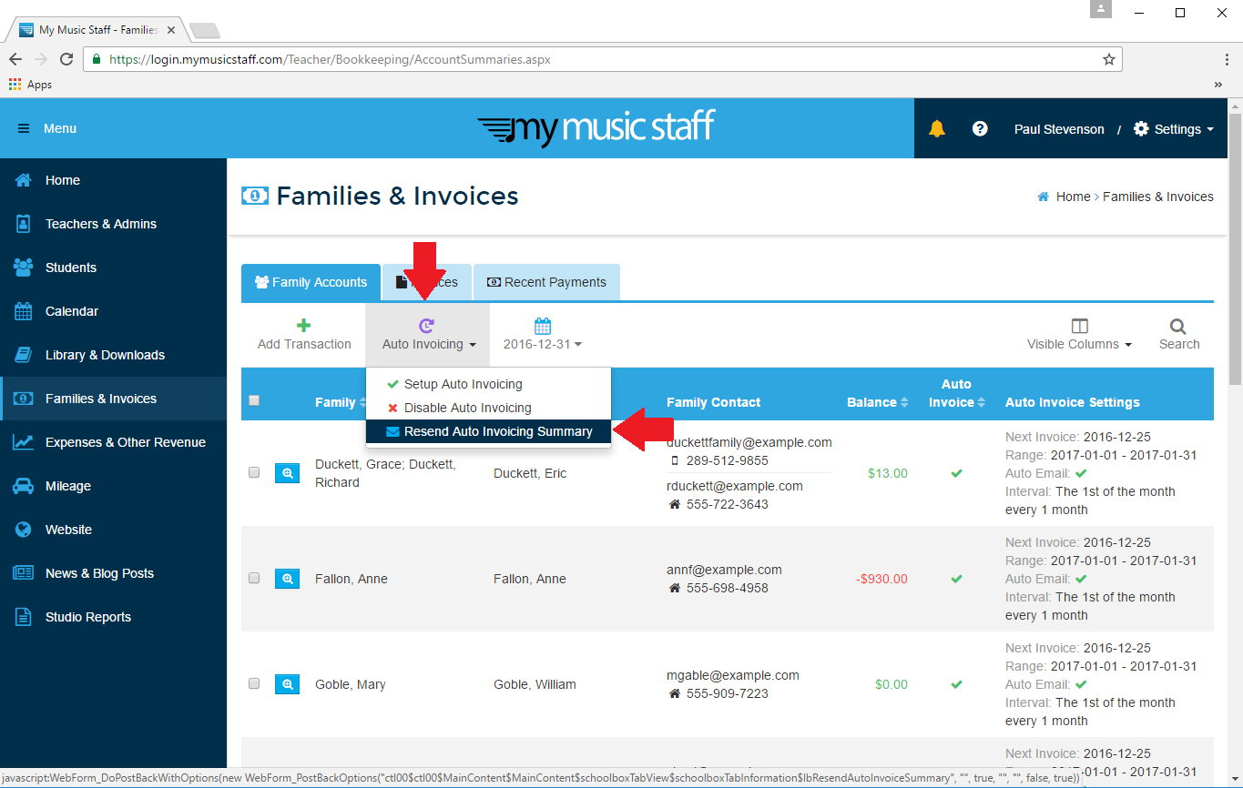 Can I Have An Automatic Invoice Summary Resent To Me My Music Staff - Invoice to me