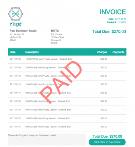 paid music invoice