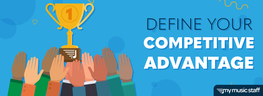 """Blog header with the title """"Define Your Competitive Advantage""""; contains a crowd of hands reaching up to grab a gold first-place trophy."""