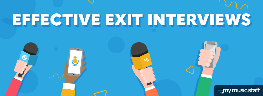 "Blog header with the title ""Effective Exit Interviews""; contains four hands holding up microphones and recording devices."