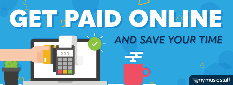 """Blog header with the title """"Get Paid Online and Save Your Time""""; contains a hand swiping a credit card through a card machine in front of a laptop to demonstrate online payments."""
