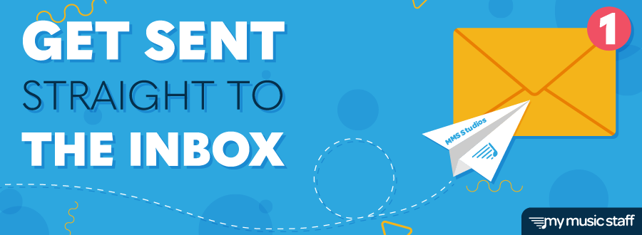 """Blog header with the title """"Get Sent Straight to the Inbox""""; contains a paper airplane flying towards an envelope with a new email notification, demonstrating sender engagement."""