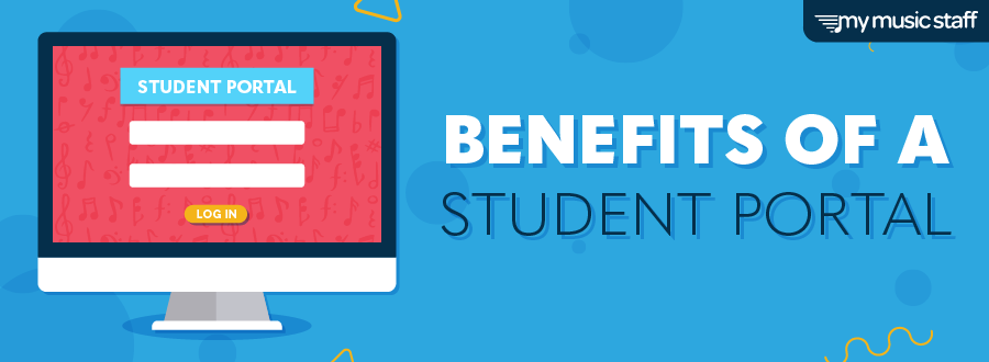 "Blog header with the title ""Benefits of a Student Portal""; contains a computer with log in page, to demonstrate student portal use."