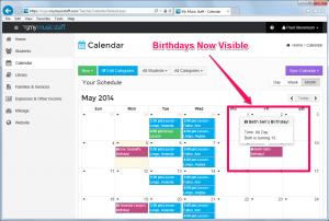 View student birthdays directly on the calendar. Click to enlarge.