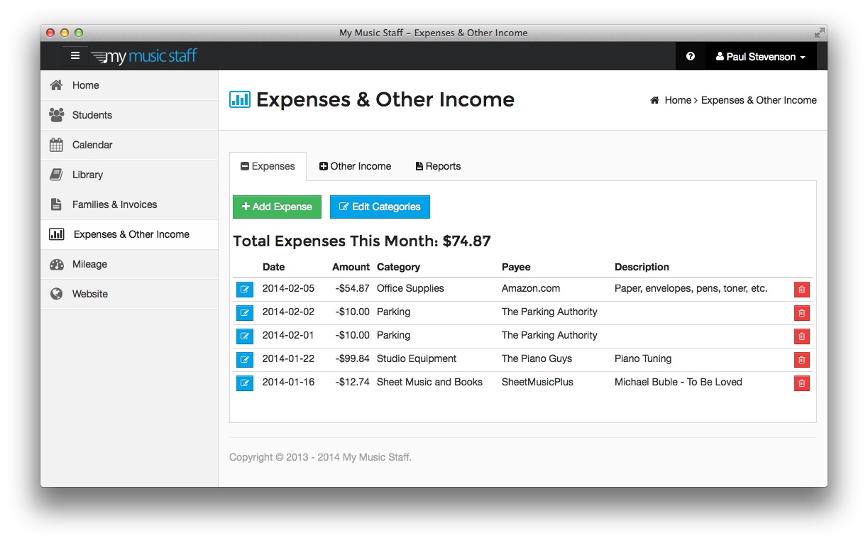 Keep track of your studio expenses throughout the year.